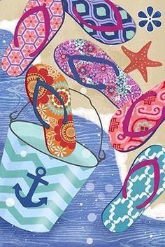 Flip Flop Summer Vert by Jennifer Brinley | Ruth Levison Design