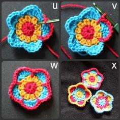 cheerymishmash: Five petalled flower pattern (UK so use translation chart)
