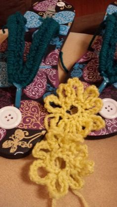 Today's project: Crochet flip flops