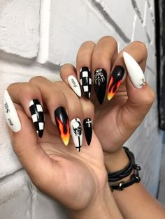 Pin on Nails Pin on Nails Punk Nails, Edgy Nails, Aycrlic Nails, Grunge Nails, Stylish Nails, Swag Nails, Manicure, Grunge Goth, Grunge Style