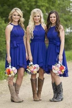 0d7798850a549 Beautiful country bridesmaid dresses with cowboy boots for your ...