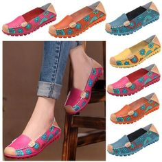 4c97274751f Big Size Women Flower Floral Leather Loafers Moccasins Flats Soft Ball –  1Deebrand  fashion