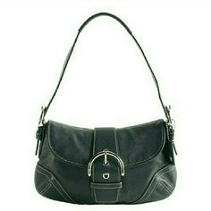 Authentic Coach #3653 buckle flap soho black bag Description in photo. Excellent condition like new no flaws whatsoever except missing the coach tags beautiful grain of leather this is a great bag Coach Bags