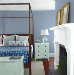 Look at the paint color combination I created with Benjamin Moore. Via @benjamin_moore. Wall: Oxford Gray 2128-40; Mantle: Chalk White 2126-70; Chest: Wythe Blue HC-143; Ceiling: Chalk White 2126-70.