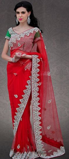 $515.81 Red Net Stone Work Wedding Saree 23297