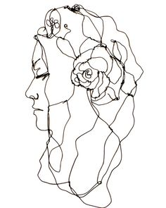 Wire sculpture- portrait of woman with her eyes closed - Wall art
