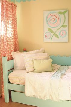 ROOM DECOR:: GIRLS ~~ Love the colors & patterns all over this room -- especially how they've mixed it all up. Would be a pretty room for a girl.                                                       **Bed by Maine cottage | Ripple Day Bed  #mainecottage