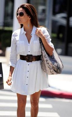 Eva Longoria Shirt dress white button down shirtdress spring summer