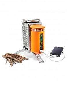 This new camp stove from BioLite cooks meals and converts the fire's heat into electricity to charge phones or LED lights via USB. Great Gift Idea for Him