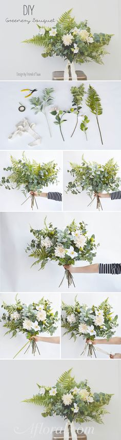 Greenery and dahlia bouquet