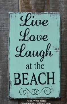 Beach Sign, Beach Décor, Coastal Wall Art, Beach House Signs, Nautical, Rustic Reclaimed, Hand Painted, Live Love Laugh At The Beach, Quotes, Aqua, Mint Green, Seafoam Green, Seaglass Green, Gray #beachsign #beachdecor #beachwallart #beachquotes