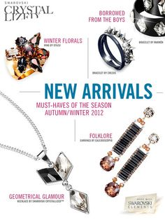 #swarovskielements introduces #swarovski jewelry for Autumn/Winter 2012!  Here are some of the highlights..... (Fashionotes - Swarovski Elements Exclusive Mobile Magazine) www.harmanbeads.com