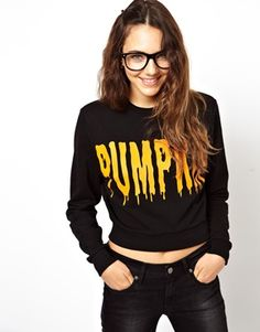 ASOS Halloween Cropped Sweatshirt with Pumpkin Print