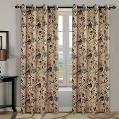 H.Versailtex Ultra Sleep Well Blackout Curtains for Living Room,Thick and Soft Grommet Curtain, Traditional Vintage Floral in Taupe/Brown/Teal, 1 Panel, 52x96 - Inch