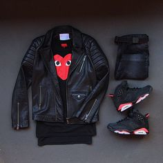 Outfit grid - Black leather jacket & hi-tops