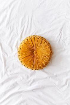 Check out Round Pintuck Pillow from Urban Outfitters Yellow Pillows, Velvet Pillows, Yellow Bedding, Fall Pillows, Urban Outfitters, Mustard Bedding, Round Pillow, Retro Home Decor, Cotton Velvet