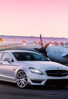 Mercedes and private jet lifestyle.