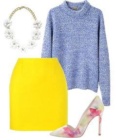 Blue, White, Yellow, Pink Outfit