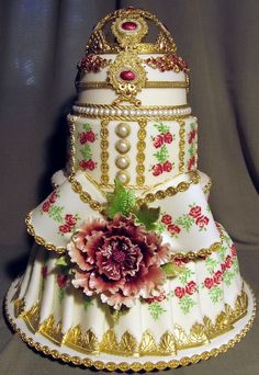 Stunning! ~ Royalty Wedding Cake  ~ Hand painted and gold gilded ~ Cake art!