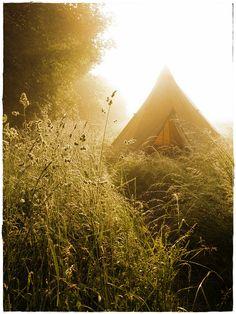 Villecey sur Mad, our Tipi in morning light, via Flickr.