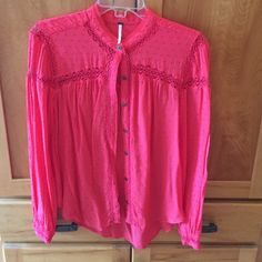 Free people top medium Crochet and Swiss dot detail.  Non smoking home. Gently worn. Free People Tops Blouses