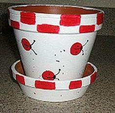 Ladybug Painted Clay Pot