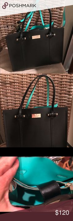 Kate spade black leather purse Kare spade black leather purse.  100 percent cowhide leather.  Black on outside with turquoise inside.   You can use as a cross body purse or you can use the handles to carry it kate spade Bags Shoulder Bags