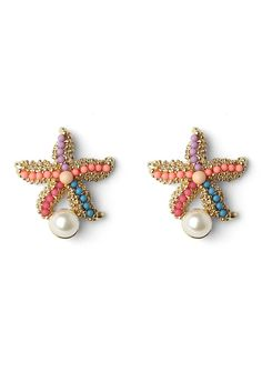 These earings feature colorful beads drop on the metal base in starfish shape with pearl decor.-Main:metal,glass -Avoid contact with liquids