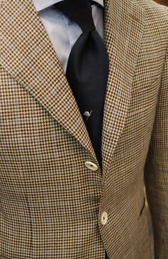 Brown Check with a Blue Window Pane, properly paired with a matching Blue Shirt