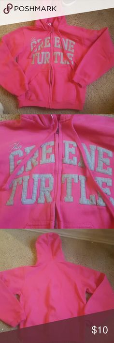 green turtle zip up hoodie worn a handful of times, pink zip up hoodie, runs small more like xs Jackets & Coats