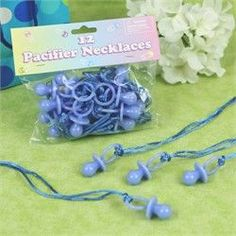 Blue Pacifier Game - 12 Necklaces - Baby Shower Game