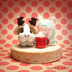 Guinea Pig Reindeer by Heather Sellers.  Time for carb loading.  #Christmas #reindeer #art #heathersellers  #glass #miniature