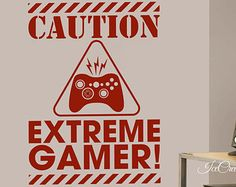 Gamer Vinyl Wall Decal Extreme Gamer Video Game for Boys Girls Play Room Bedroom Gaming Room