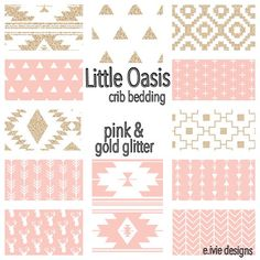 Little Oasis Tribal Crib Bedding Set! Pink And Gold Glitter By E.ivie Designs…