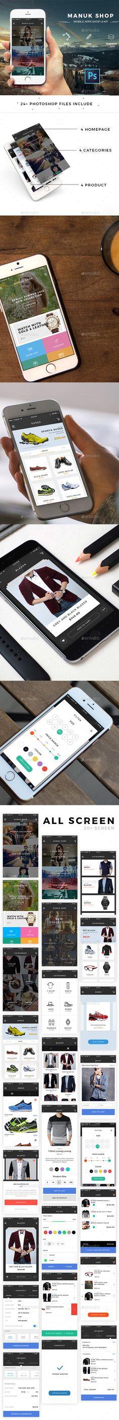 Manuk Shop - Mobile Apps UI Kit PSD. Download here: https://graphicriver.net/item/manuk-shop-mobile-apps-ui-kit/16162403?ref=ksioks