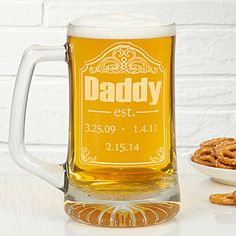 LOVE this Father's Day Gift idea! It's a Personalized Beer Mug for Dad - you can have it engraved with the birth dates of all his kids!