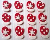 Winter Edible Cupcake Toppers - Mitten Cupcake Toppers - Holiday Fondant Toppers