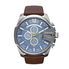 Diesel Mens Mega Chief Dark Brown Watch DZ4281.  This unique Diesel DZ4281 mens analog quartz chronograph watch features a blue dial, 3 subdials, a stainless steel case, and a brown leather band. Stainless steel case.