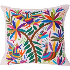 Multi-Colored Hand Embroidered Otomi Pillow Cover