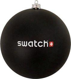 Bedrukte Kerstbal, zwart, met Swatch logo in 2 kleuren