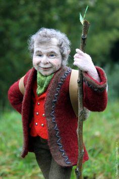 Купить Бильбо Беггинс. Валяная кукла - болотный, хоббит, Властелин колец, сказка, валяная игрушка