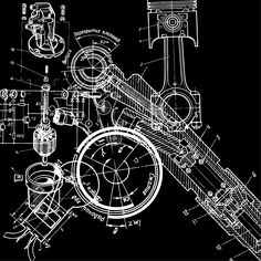 Technical drawing stock vector clipart, technical drawing or blueprint on black background by alekup Mechanical Art, Mechanical Design, Technical Illustration, Technical Drawings, Aerospace Engineering, Black Backgrounds, Vector Free, Vector Clipart, Lettering