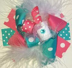 Hair bow, Hair bows, Hairbow-Funky Loopy Fabulously Fun Hot Pink and Aqua MINI Boutique Hair Bow-Funky Fun-Over The Top Deluxe Hair Bow on Etsy, $5.99