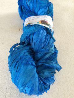 Sari silk ribbon, 100 grams, Peacock blue. Fair trade yarn. Unique for jewelry making and more. Recycled silk ribbon by Yarnyarnyarns on Etsy