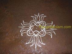 Small sikku kolam with lotus pulli] Rangoli Kolam Designs, Small Rangoli, Mehndi, Simple Designs, Lotus, Garland, Crafts For Kids, Neon Signs, Colorful