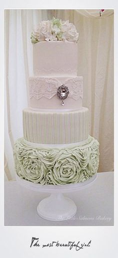 Sage green rose ruffle cake with differing textured tiers and and brooch on the face. Very pretty cake. Beautiful Wedding Cakes, Gorgeous Cakes, Pretty Cakes, Amazing Cakes, Ruffle Cake, Ruffles, Gateaux Cake, Wedding Cake Inspiration, Wedding Ideas