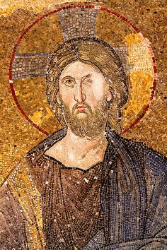 An excellent example of a Medieval Mosaic of Jesus Christ. Artist Unknown.