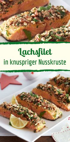 Lachs mit besonderer Note und knuspriger Nusskruste Salmon with a special touch and crunchy nut crust Slow Cooker Recipes, Meat Recipes, Seafood Recipes, Vegetarian Recipes, Chicken Lunch Recipes, Salmon Recipes, Chicken Sandwich, Easy Healthy Recipes, Easy Meals