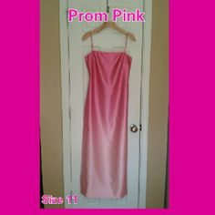 Free Purse: Pink Prom Dress Free silver and pink Purse to match: this pretty in pink prom dress or use it for any occasion. It has spaghetti cross straps across the back and on the shoulder. Lower zipper below the waistline and a split up the back. The shades of Pink start strong and end at the bottom in a soft pastel pink.  Worn only once, dry cleaned and ready to wear. Byer Too California  Dresses Prom