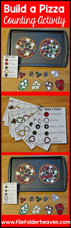 These Counting Activities:  Building Pizzas can be set up as cookie sheet activities, a magnet center, or math center. This set includes two pizzas, 12 build a pizza instruction cards, and lots of build a pizza building pieces (all in color).  In this activity, students watch the pizza toppings pile up as they work on basic counting skills  and following directions.  Students count out the correct number of pizza toppings indicated on the build a pizza instruction cards to build their…